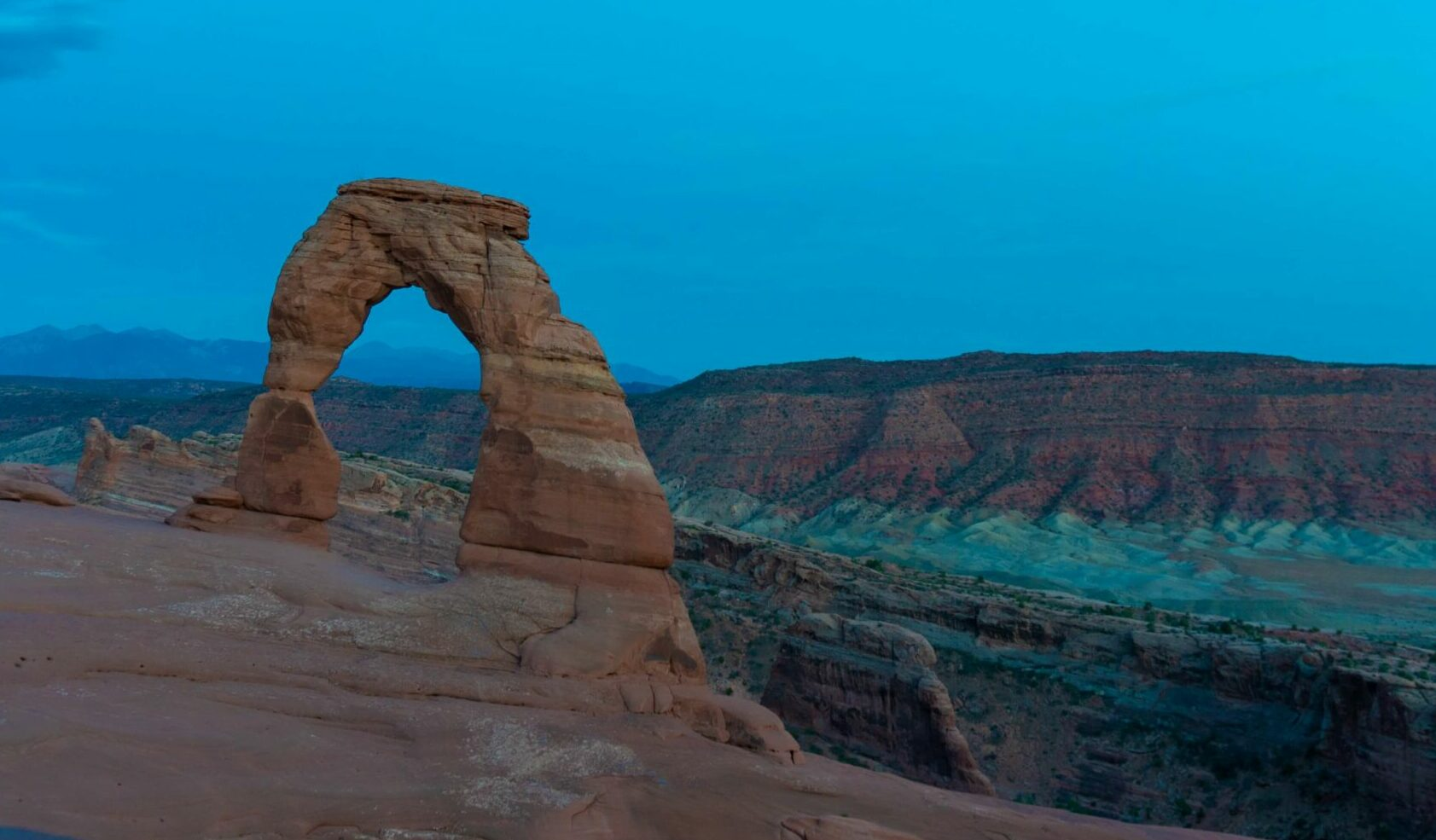 arches national park at dusk