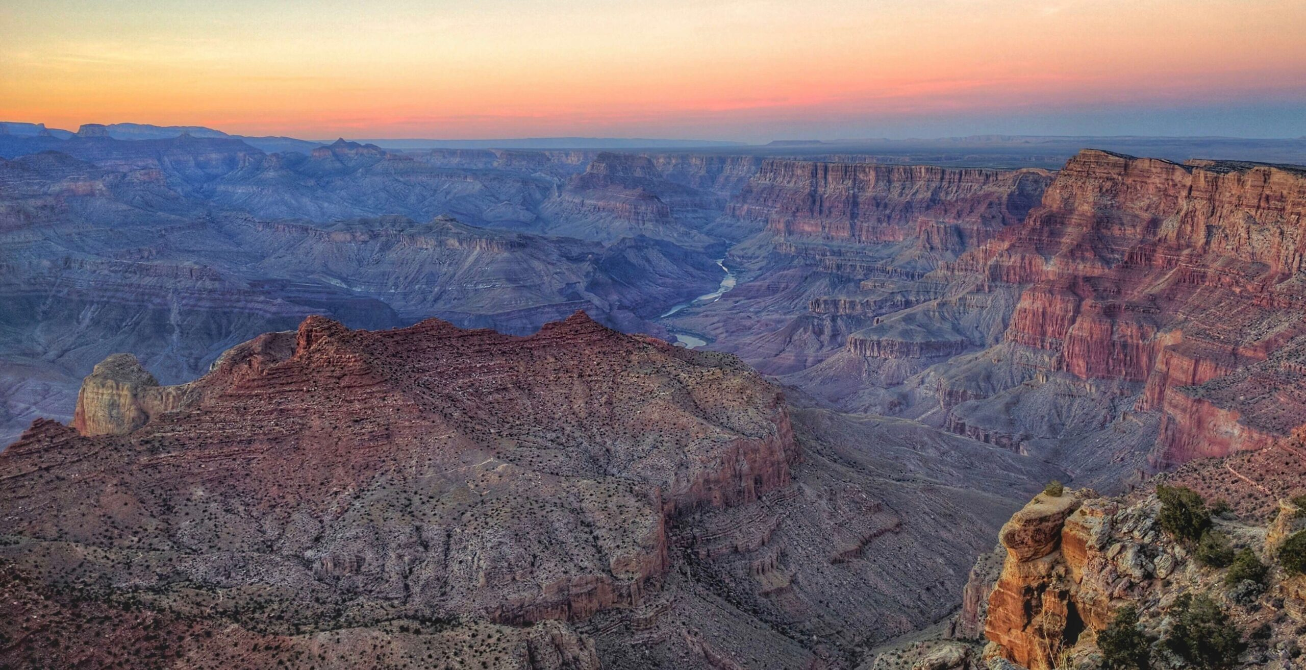 a high vantage point of the grand canyon